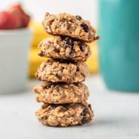 Breakfast cookies stacked up.