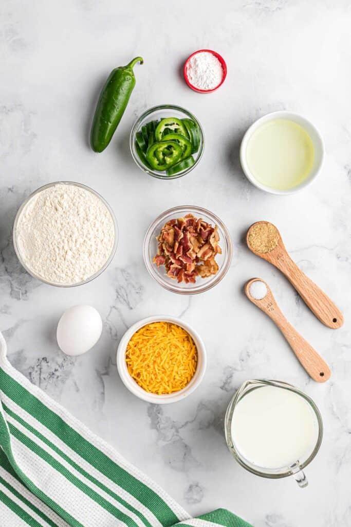Ingredients for savory sheet pan pancakes.