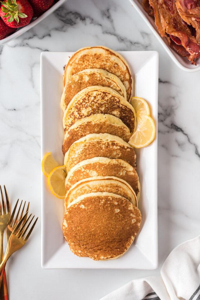 Platter of lemon ricotta pancakes.