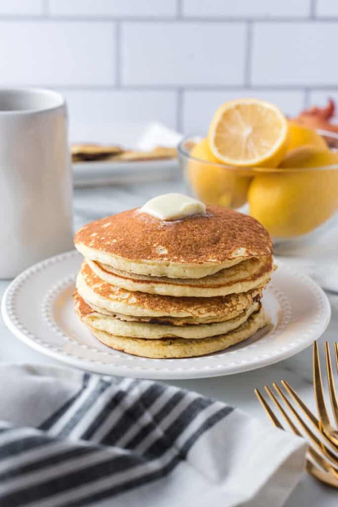 Stack of ricotta and lemon pancakes.