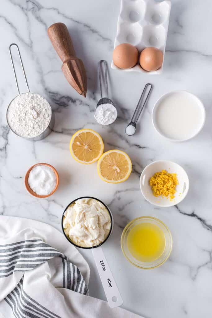 Ingredients needed to make lemon ricotta pancakes.