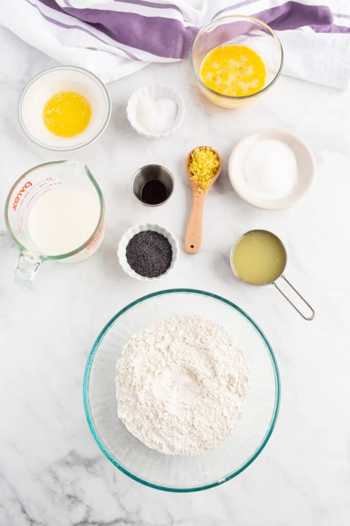 Overhead view of lemon poppy seed pancake ingredients on a white background.