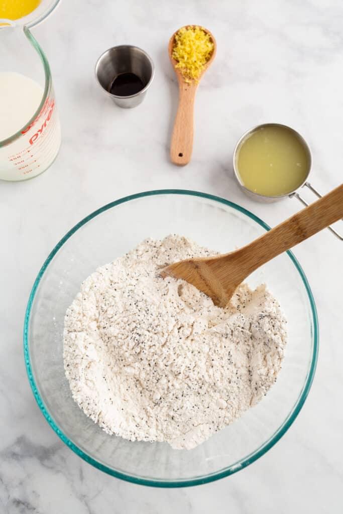 Dry ingredients for lemon poppy seed pancakes.