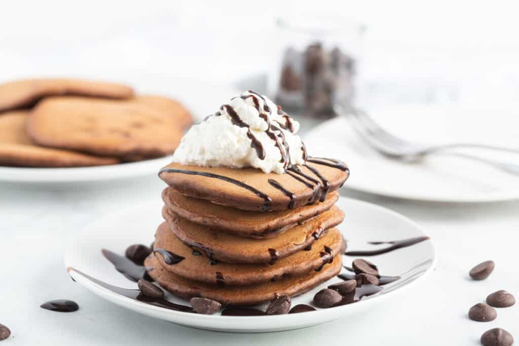 Stack of chocolate pancakes.