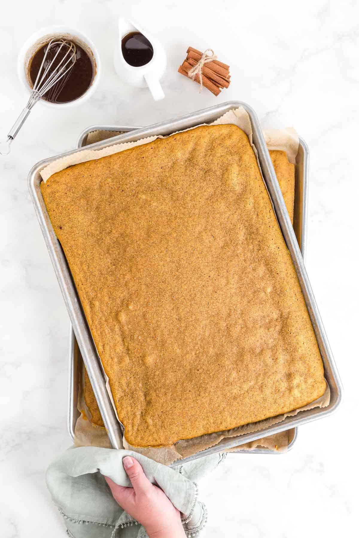 Baked sheet pan pancakes.