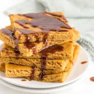 Stack of pumpkin pancake squares.