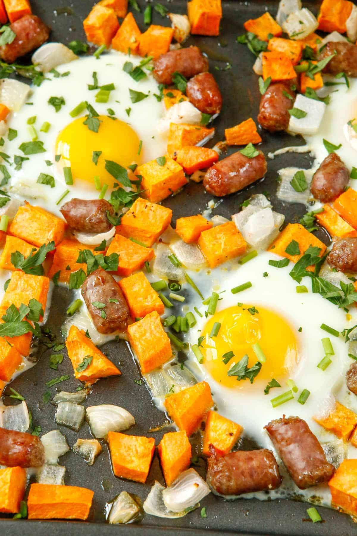 Close up of sheet pan breakfast hash.