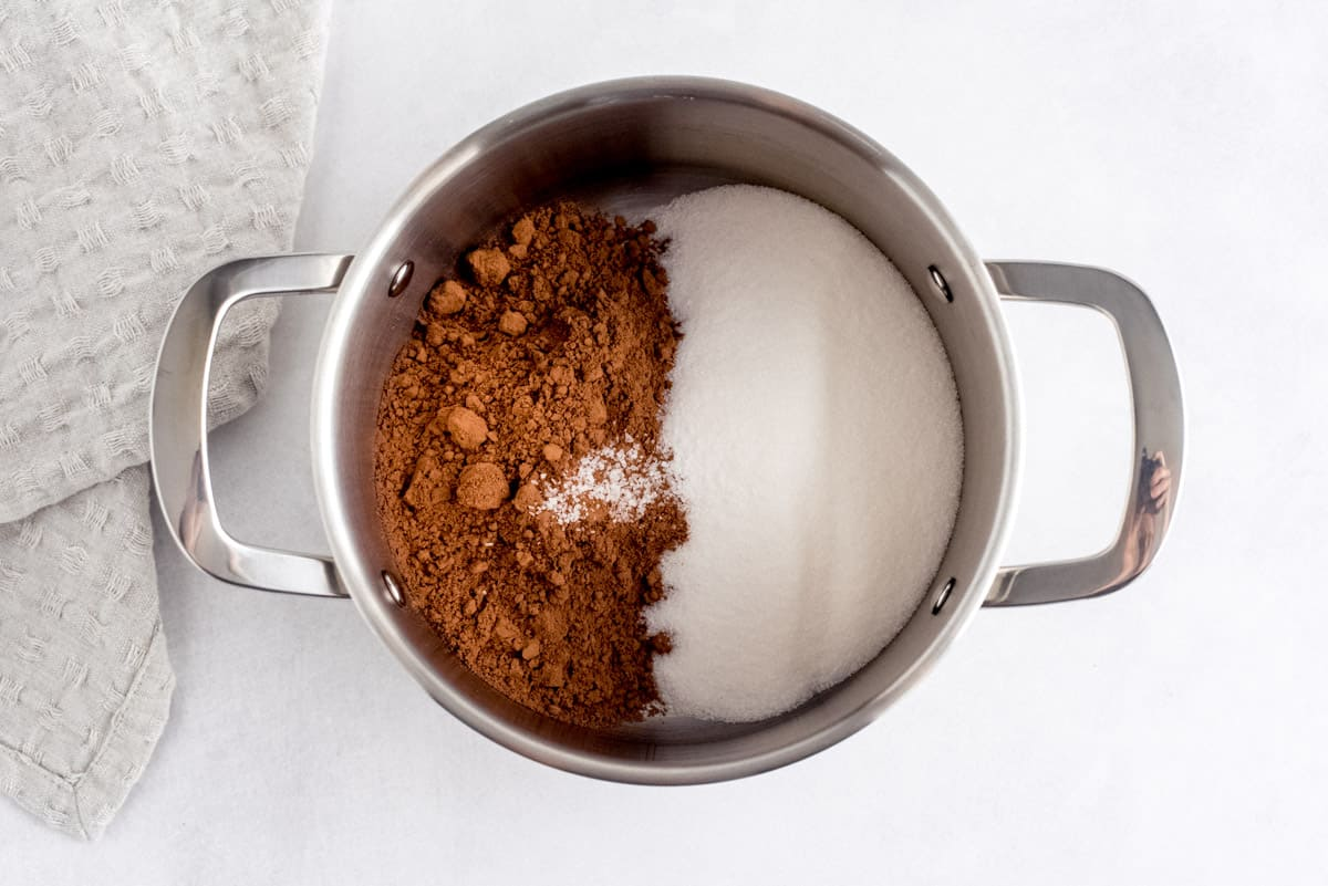 Sauce pan with sugar, salt, and cocoa powder in it.