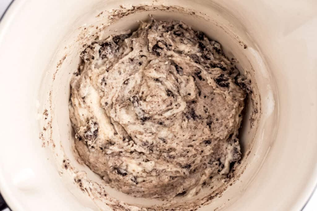 Close up of pancake batter with oreo cookies.
