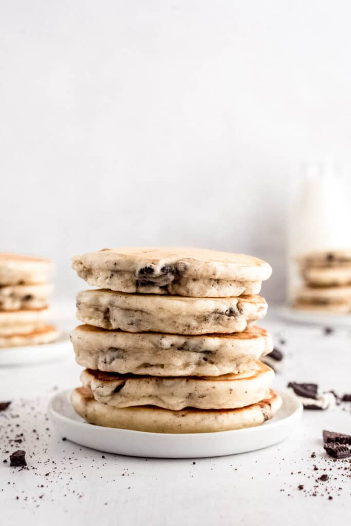 Stack of cookies and cream pancakes.