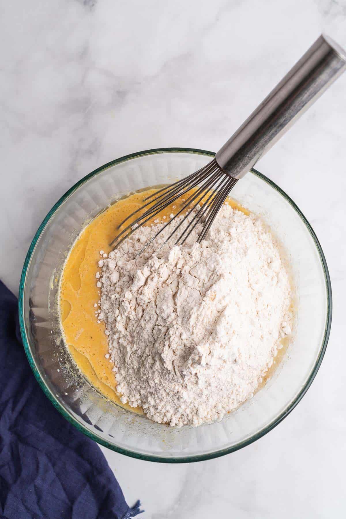 Dry ingredients on top of wet ingredients.