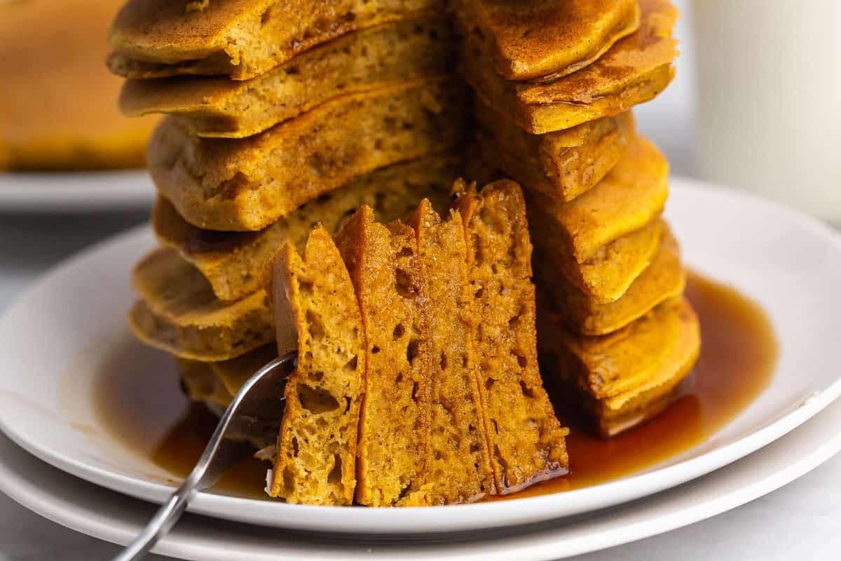 Close up of cut pancakes.