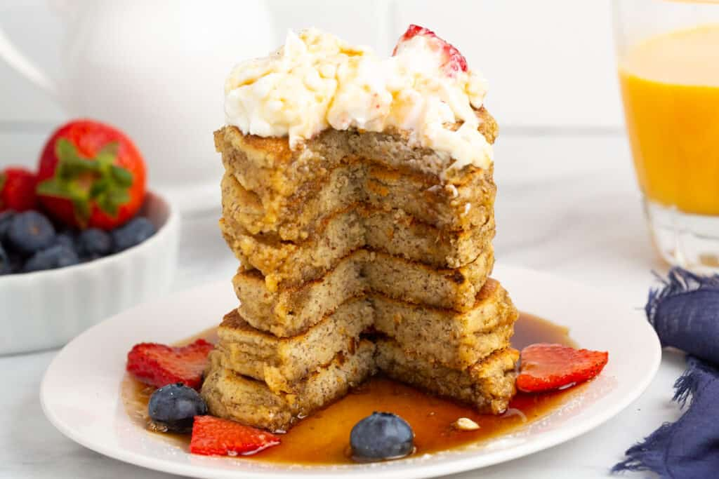 Almond flour pancakes with cut out of them to show texture.