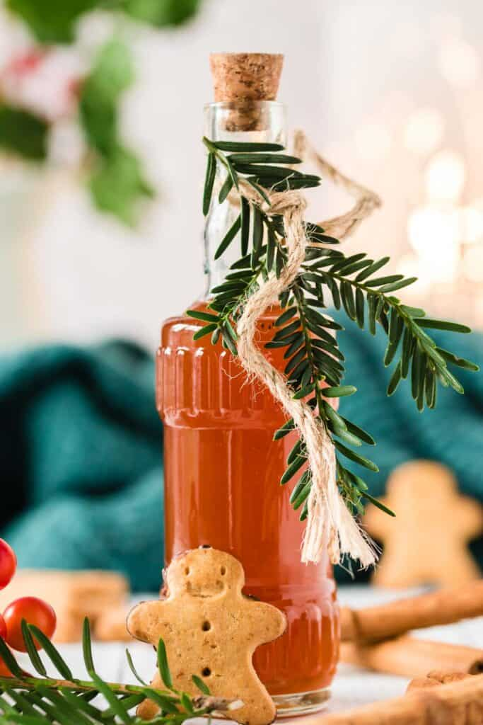 Gingerbread syrup in a festive bottle.