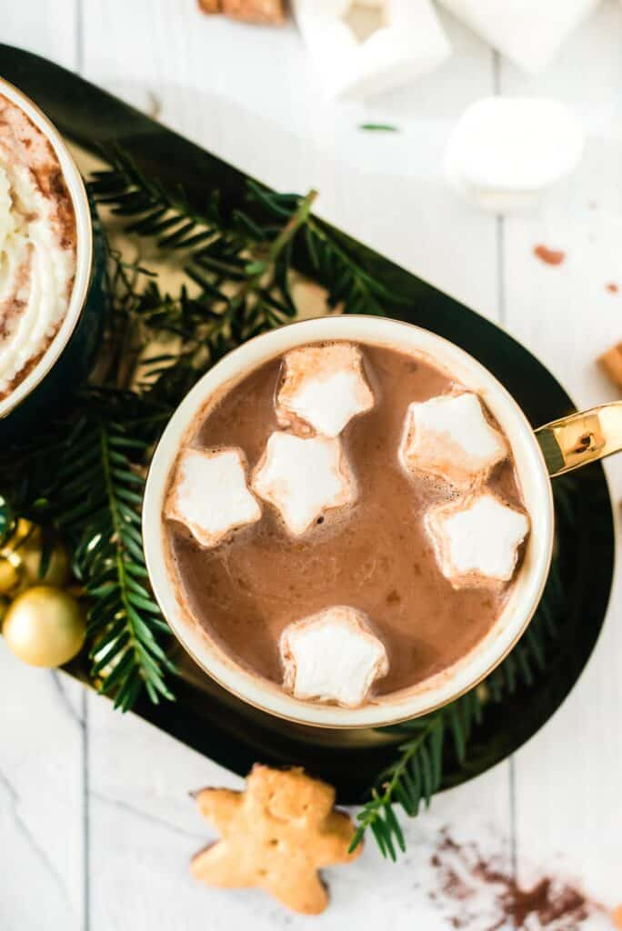 Hot cocoa with star shaped marshmallows.