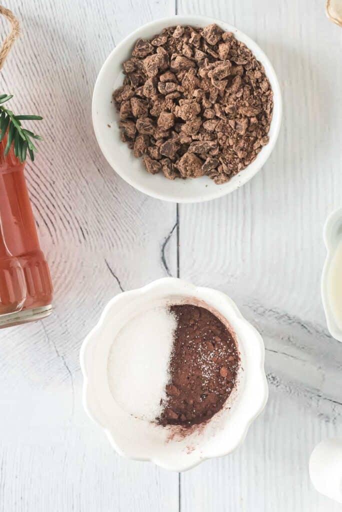 Cocoa powder and sugar in a small bowl.