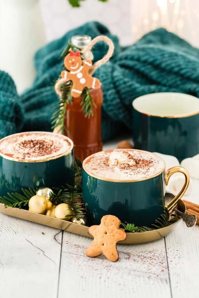 Gingerbread coffee syrup and lattes.