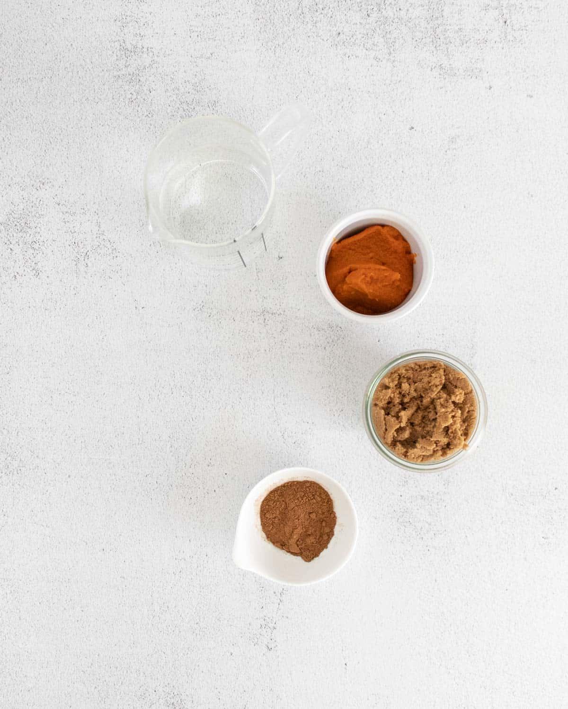 Ingredients for a pumpkin spice latte.