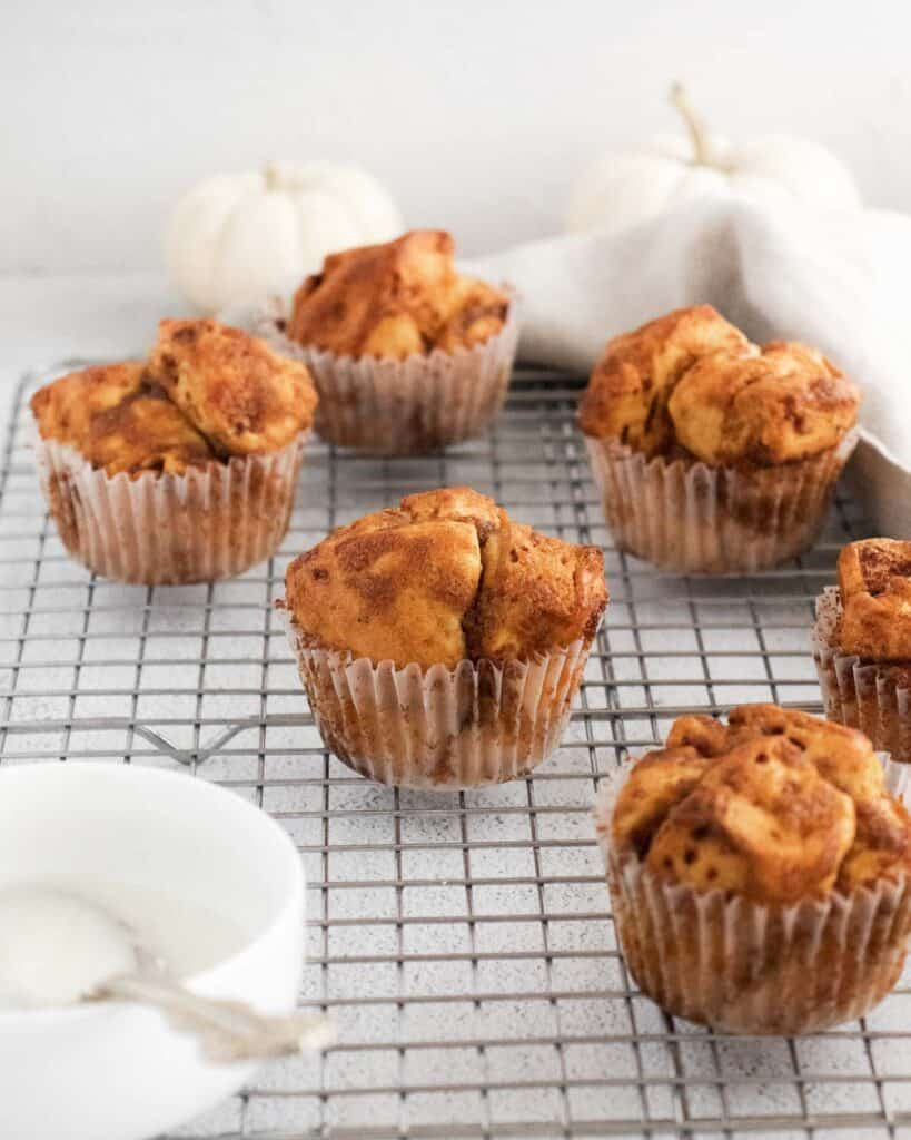 Monkey bread muffins on cooling rack.
