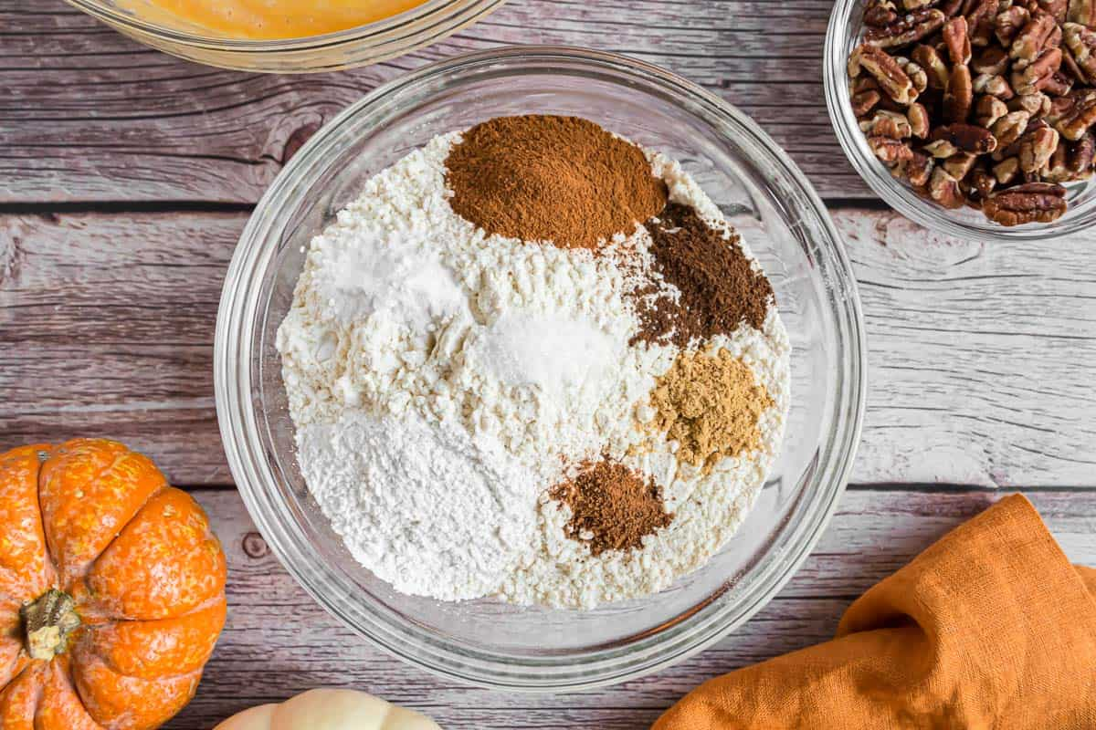 Dry ingredients for pumpkin pancakes with pecans.