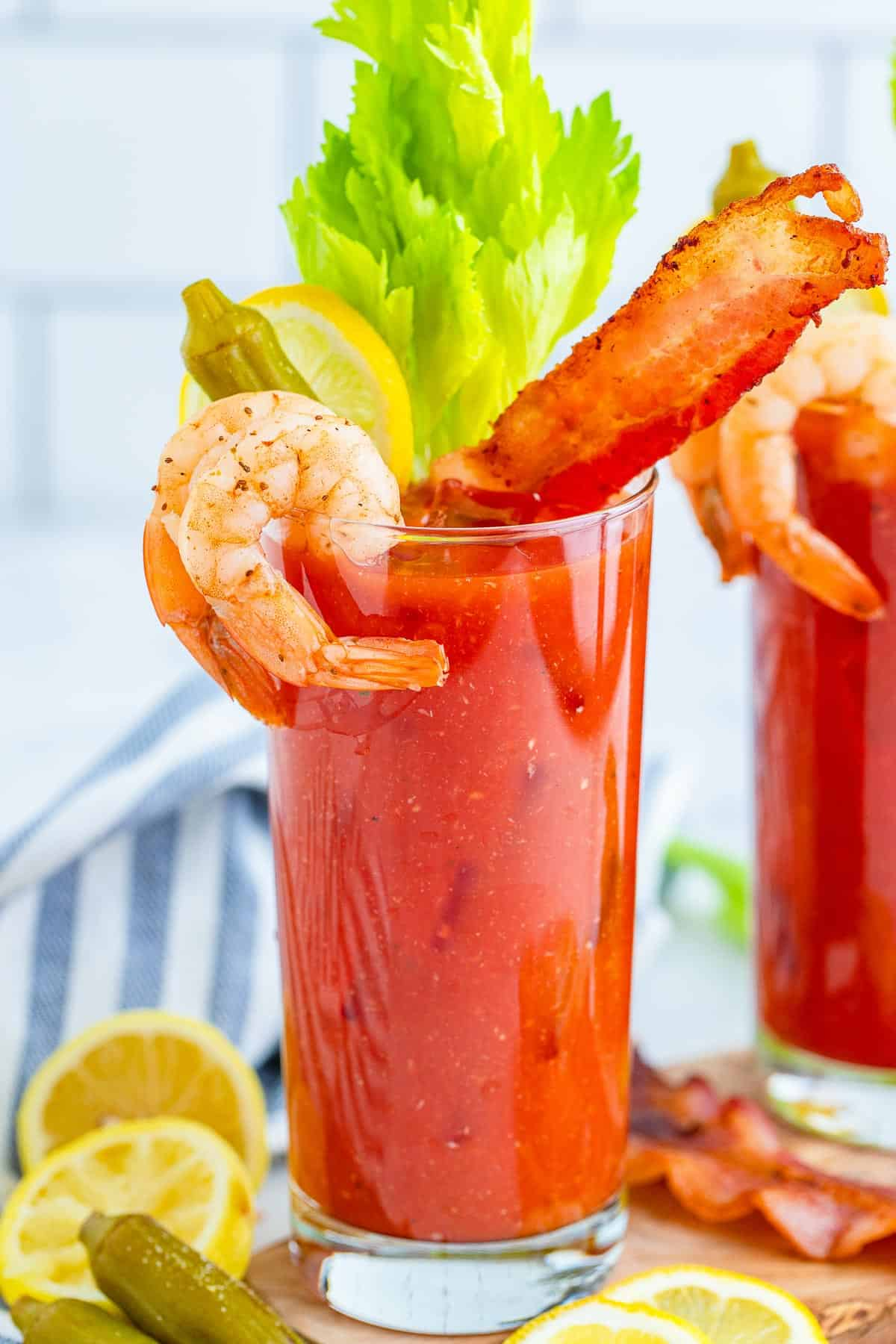 Close up of loaded bloody mary drink.