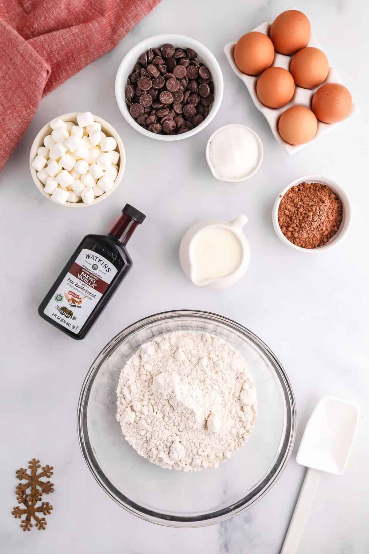 Overhead view of ingredients need for hot chocolate pancakes.