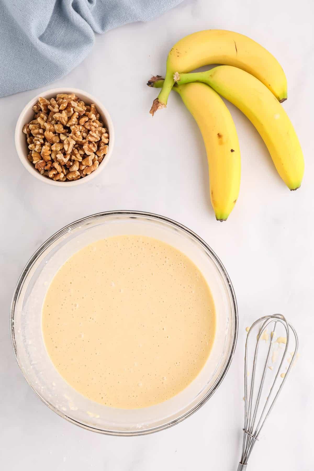 Pancake batter in a bowl.
