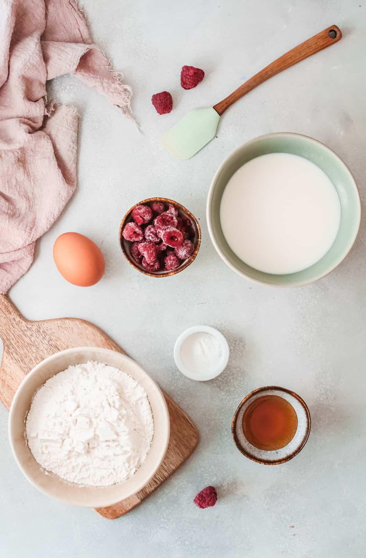 Overhead view of ingredients in separate bowls.