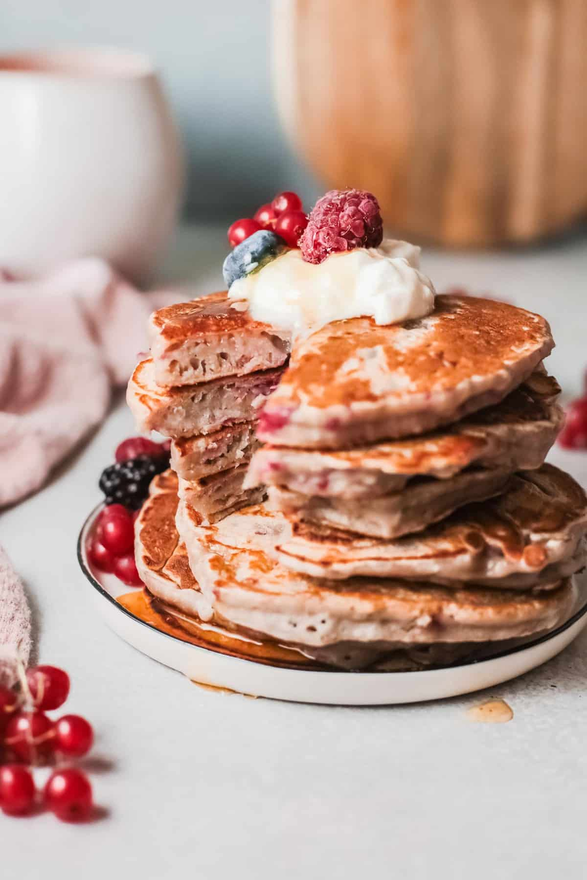Pancake stack with a wedge cut out.