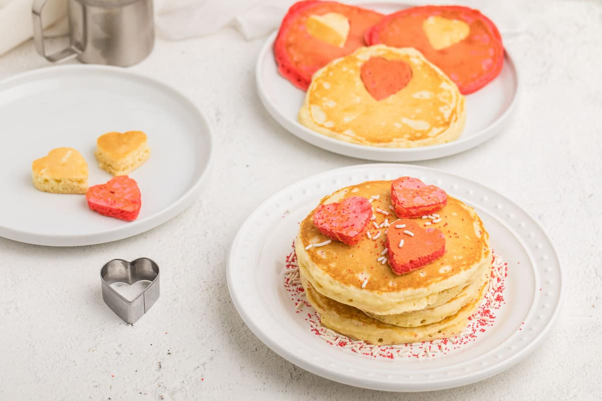 Pancakes with heart shapes.