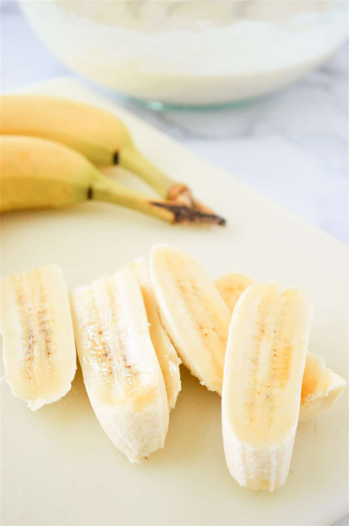 Bananas cut into thin strips.