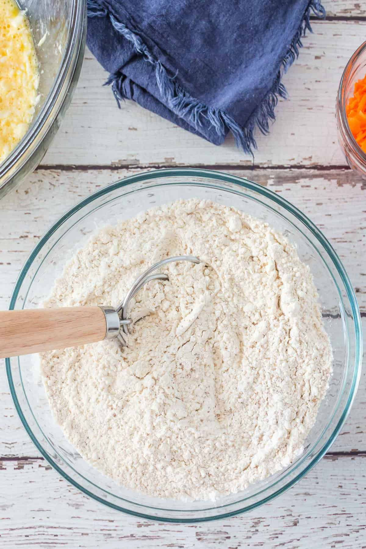 Dry ingredients in a glass bowl.