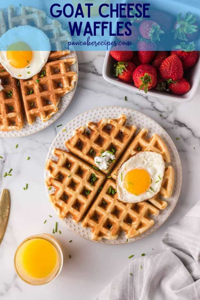 """Overhead view of waffles topped with eggs, text overlay reads """"goat cheese waffles, pancakerecipes.com"""""""
