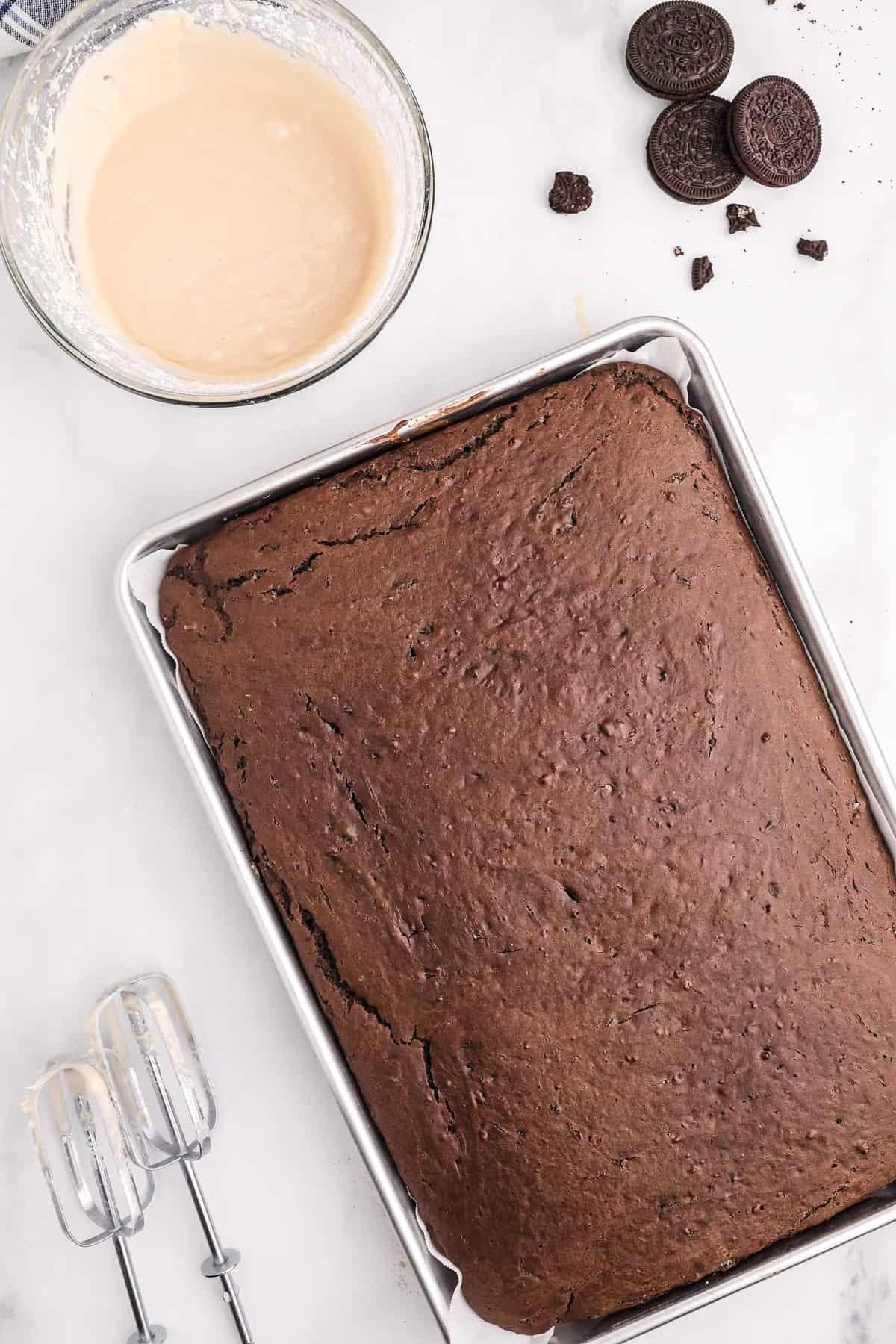 Baked chocolate sheet pan pancake.