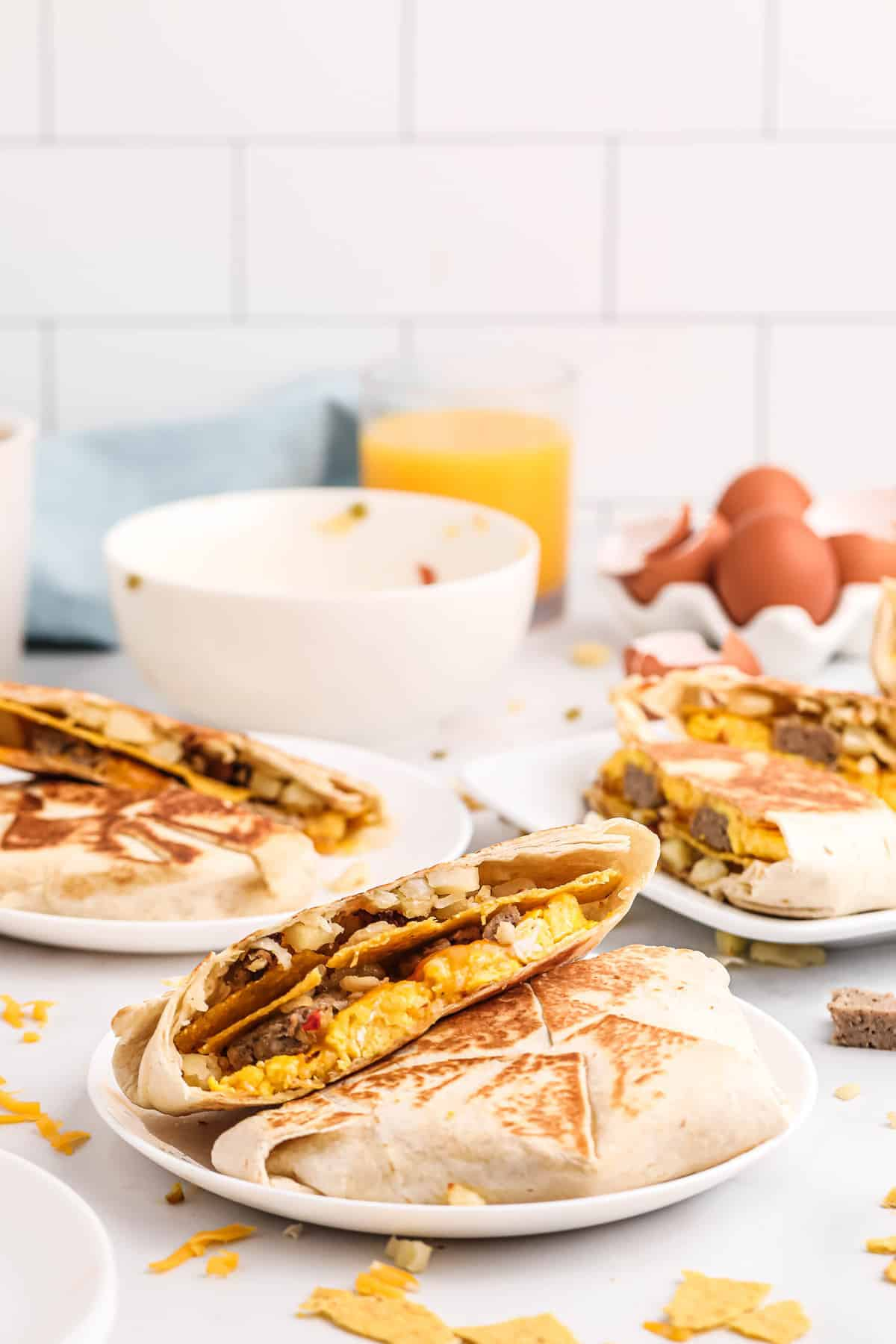 Tortilla filled with eggs, sausage, hashbrowns, and more, toasted to golden brown.