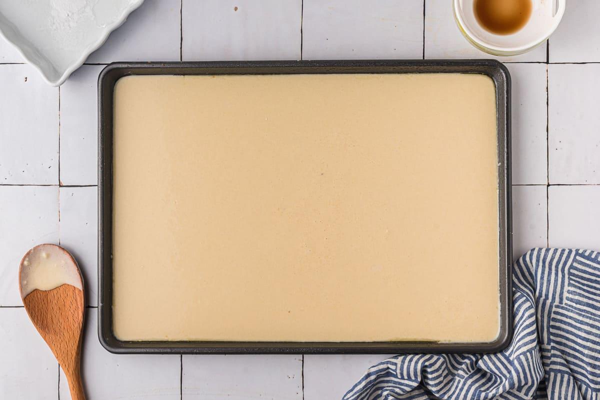 Unbaked sheet pan pancake.