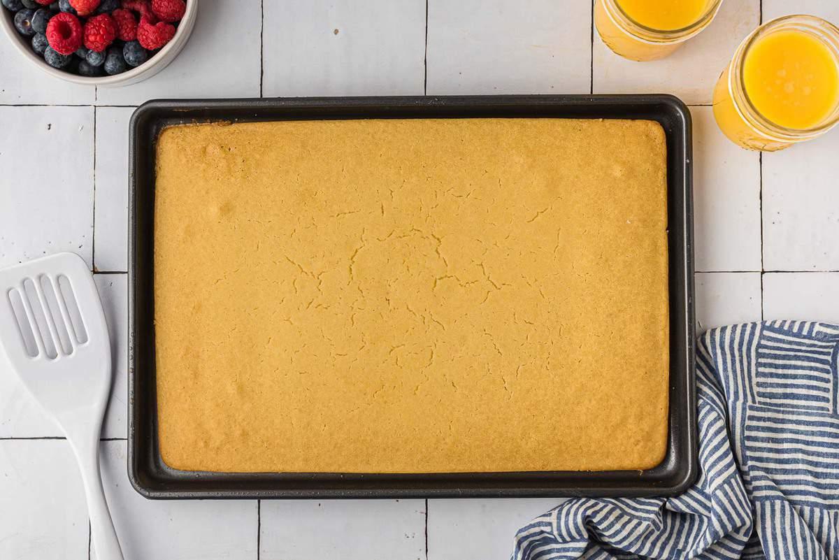 Baked sheet pan pancake, uncut.