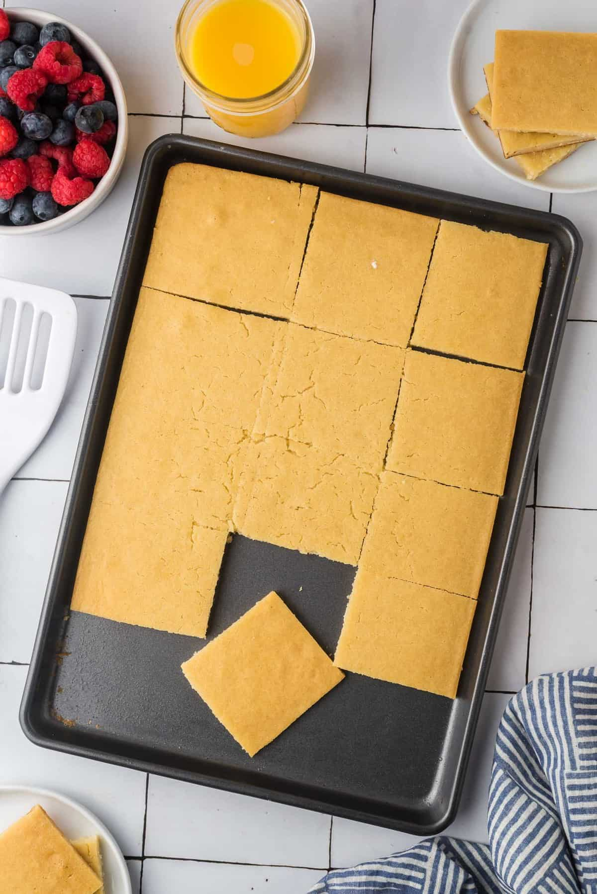 Pancakes on a sheet pan.