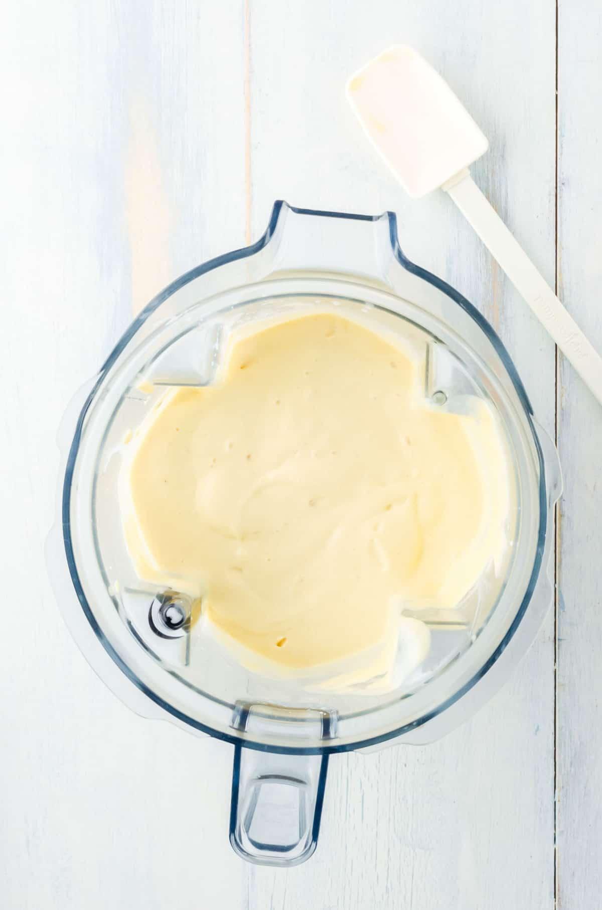 Blended smoothie in a blender jar.