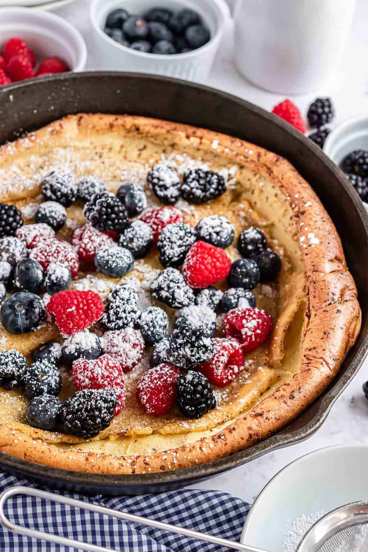 Skillet pancake with toppings.