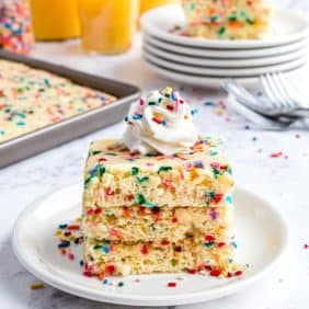 3 square pancakes with sprinkles in a stack.