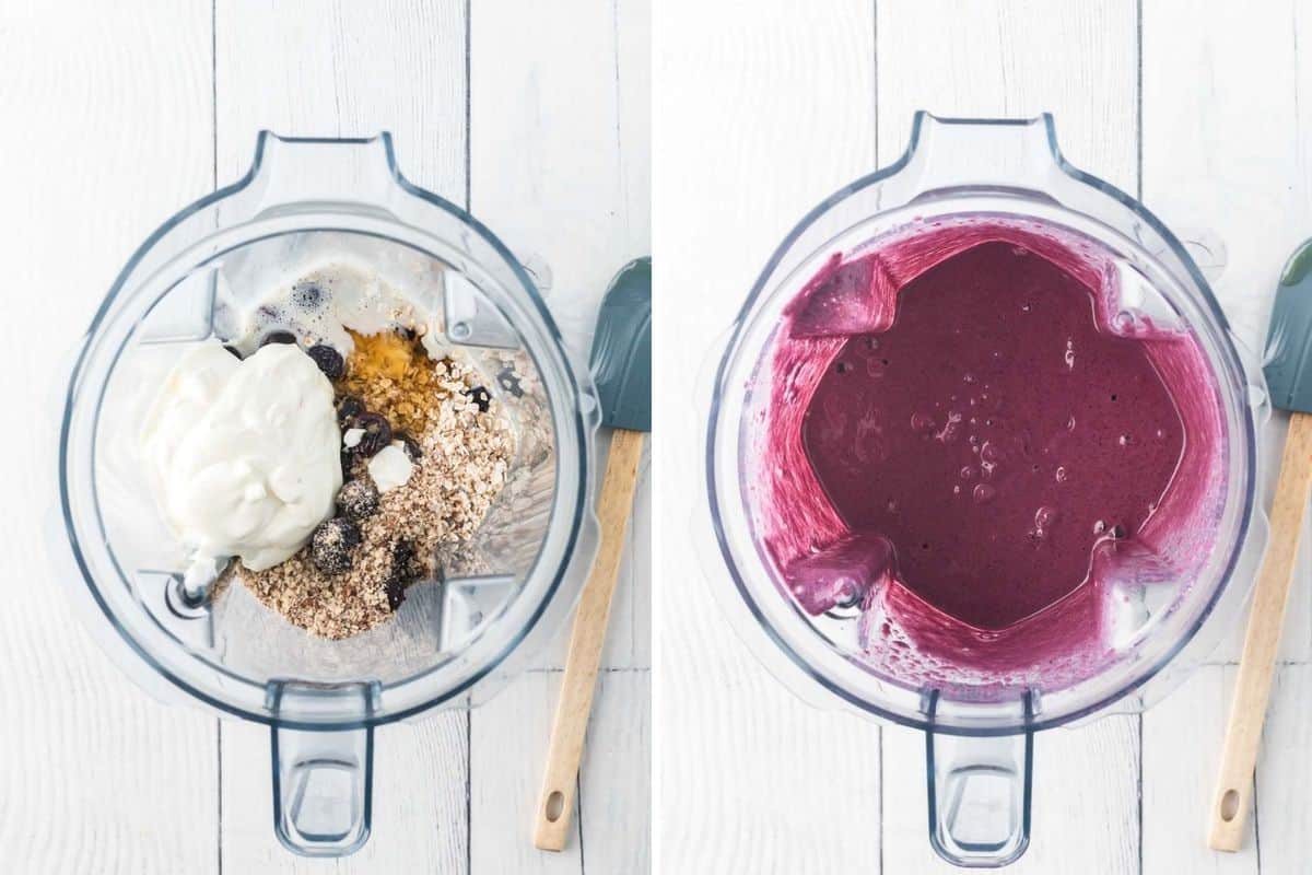 Two images, on left an unblended smoothie, and on the right, a bright blue smoothie, both in a blender.