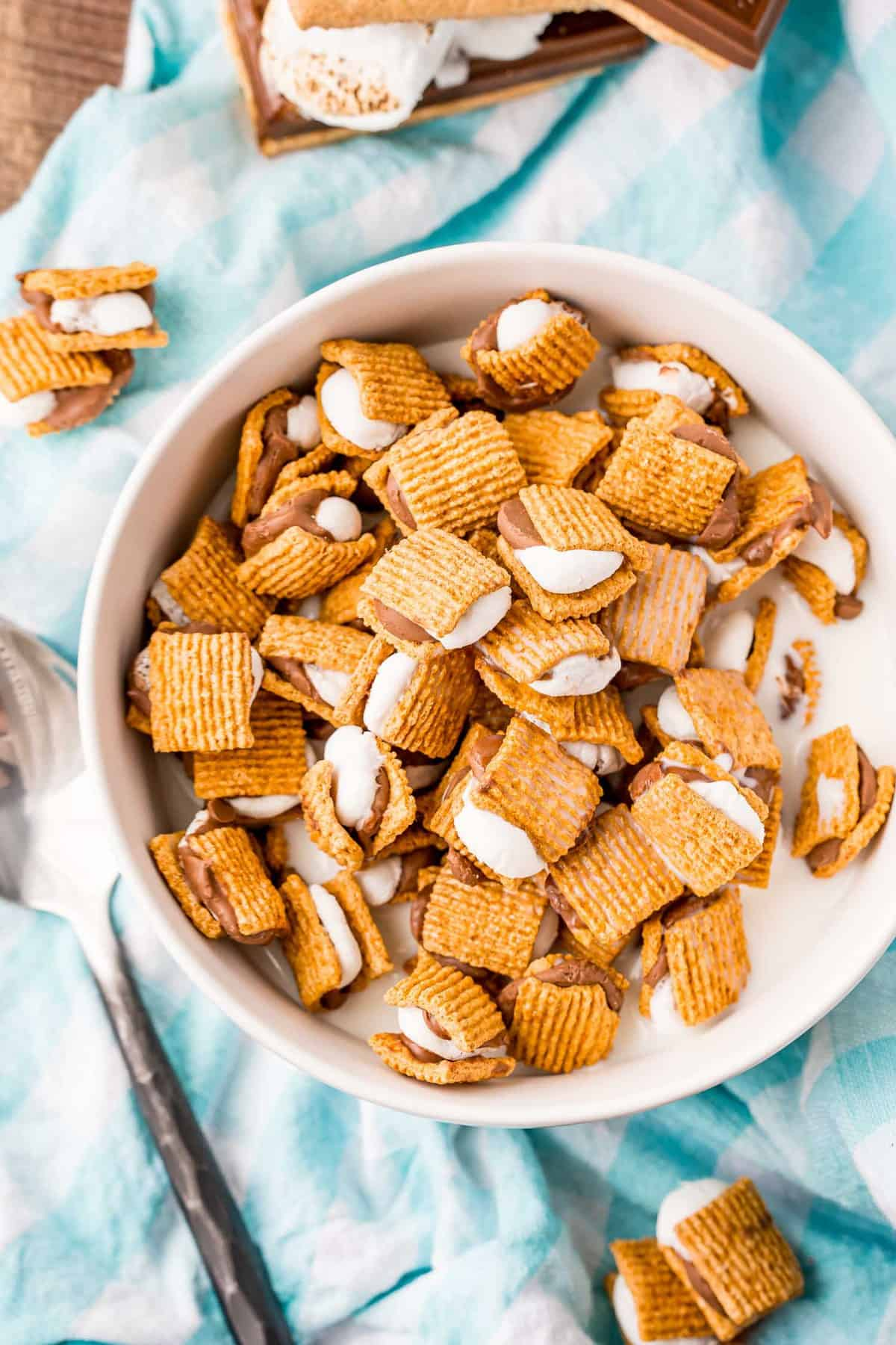Tiny s'mores in a bowl with milk.