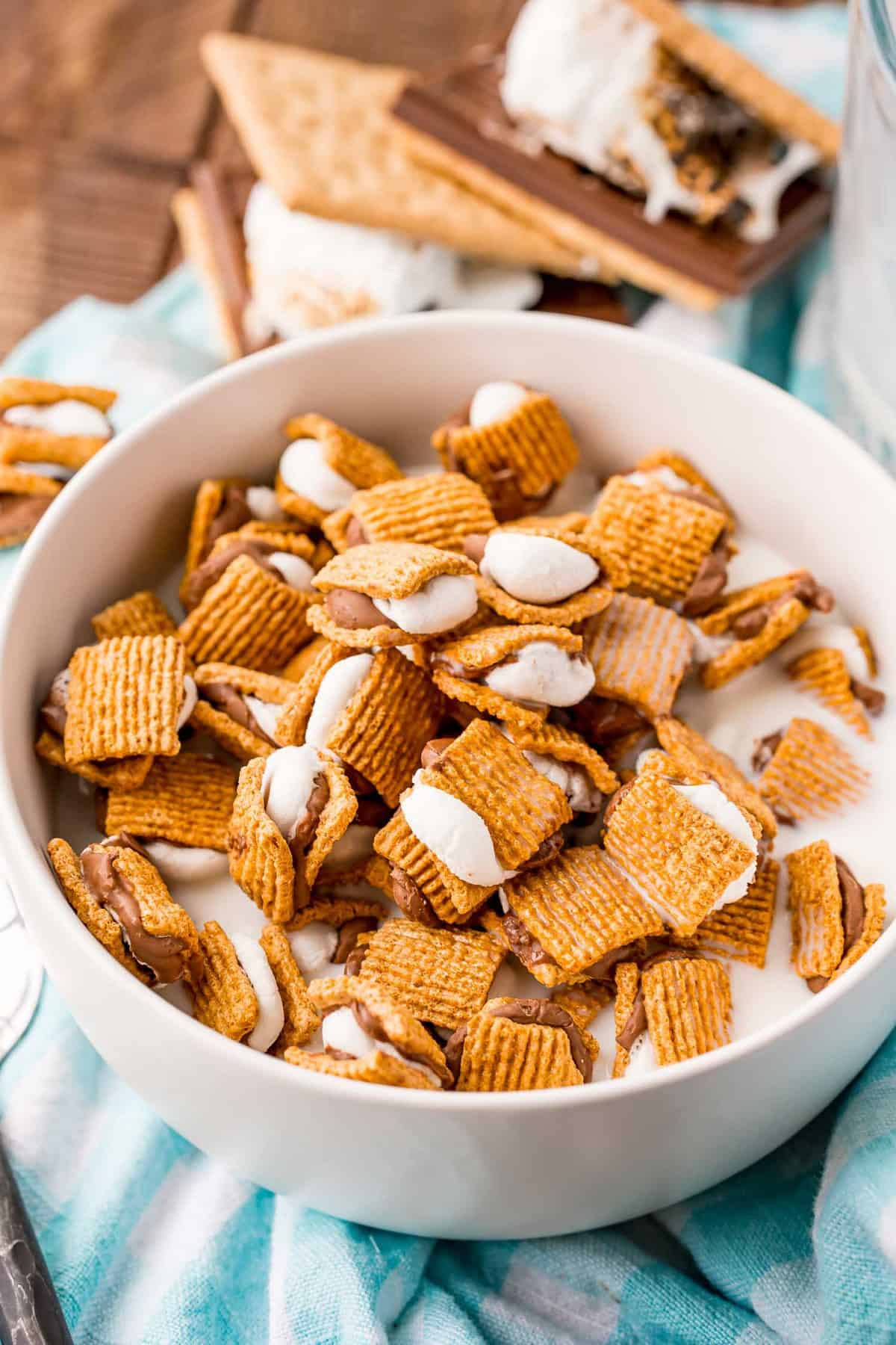 S'mores cereal in a bowl, with real s'mores in the background.