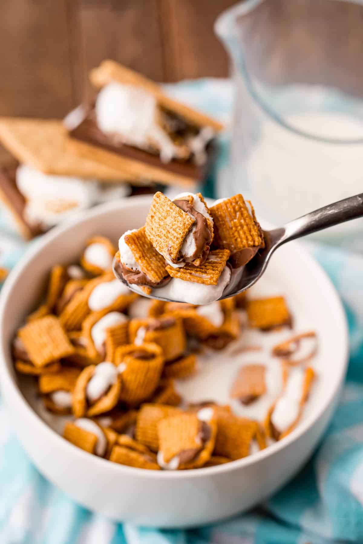 Tiny graham cracker, marshmallow, and chocolate chip sandwiches, on a spoon.