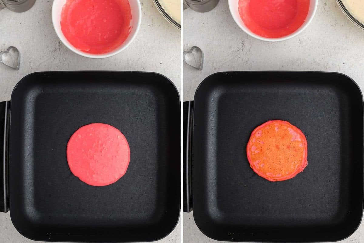 Uncooked pancake on left, cooked pancake on right.