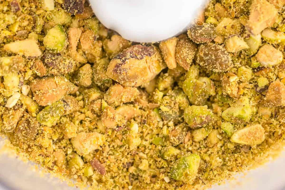 Close up of ground pistachios.