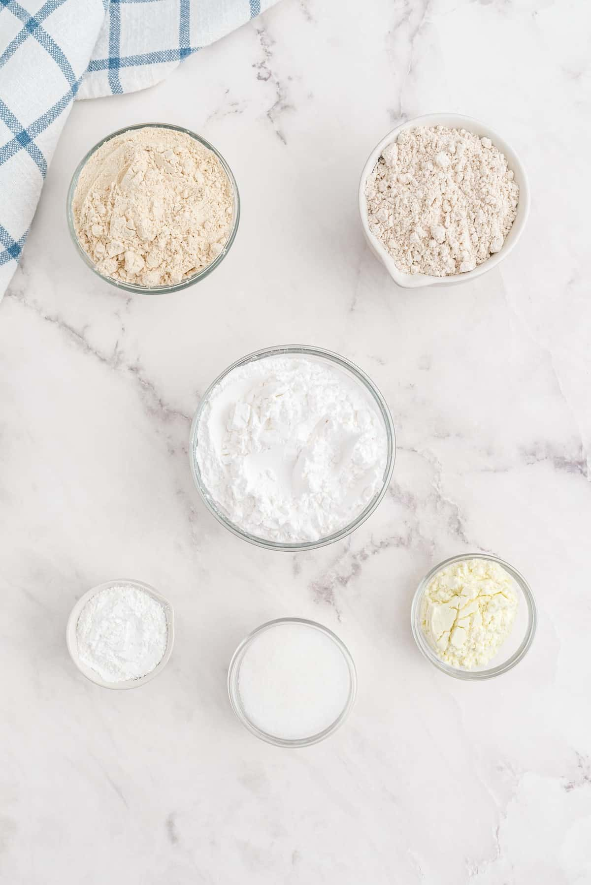 Overhead view of ingredients needed to make gluten-free pancake mix.