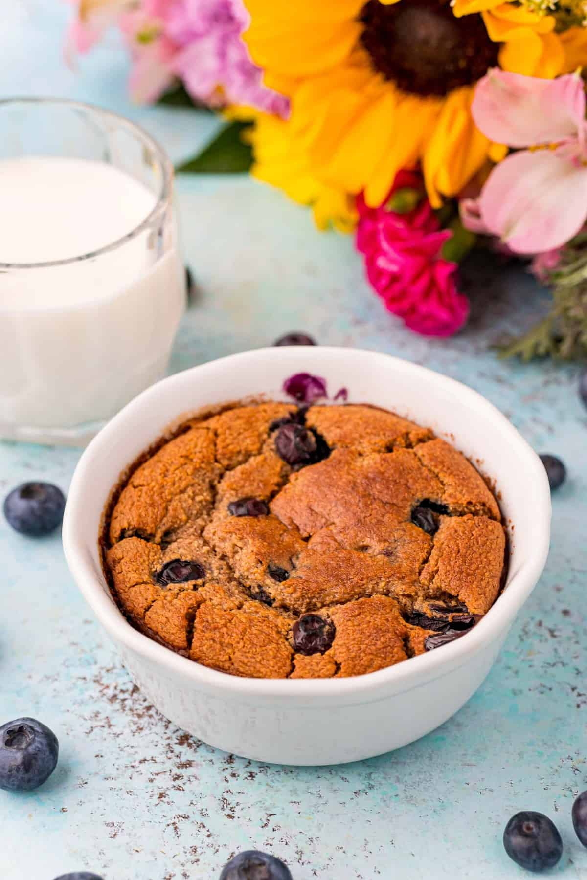 Baked oatmeal with blueberries, no toppings.