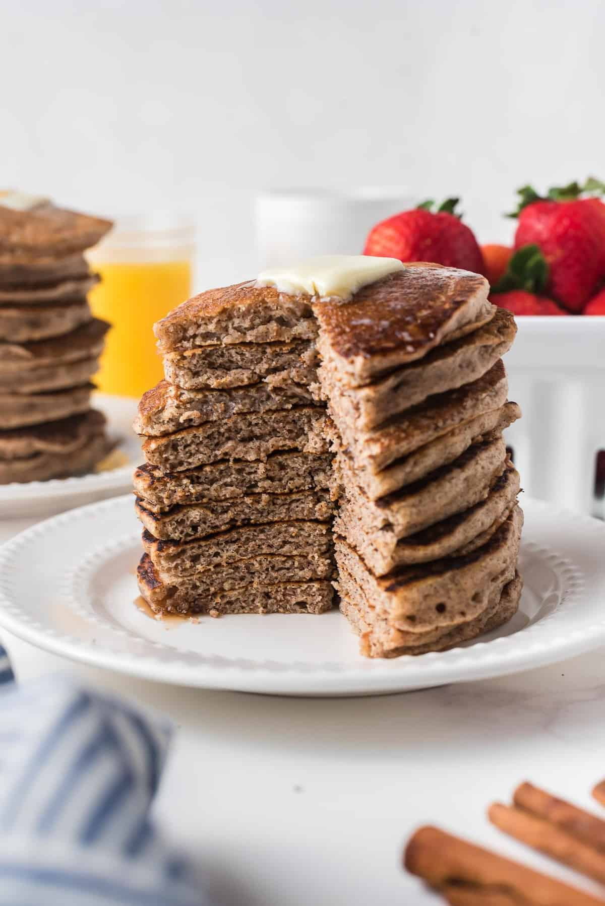 Pancakes with a wedge cut out to show texture.